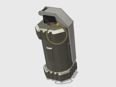 手雷空心带螺纹可当储藏罐-3d打印模型