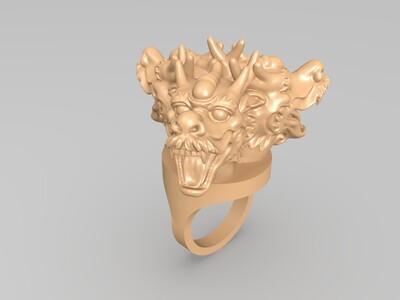 三龙戒指-3d打印模型