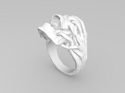 触手骷髅戒指-3d打印模型