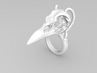 乌鸦头戒指-3d打印模型