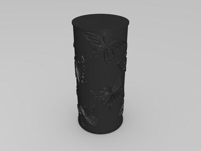 蝶纷飞灯罩笔筒-3d打印模型