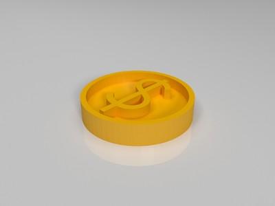 金币美元 桌游通用游戏道具-3d打印模型