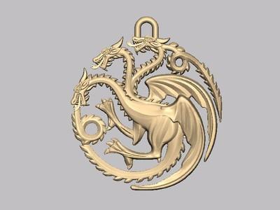 坦格利安家族徽章-3d打印模型