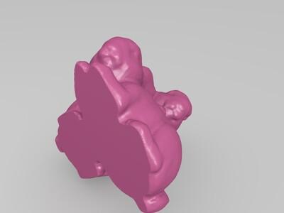 俩只兔子-3d打印模型