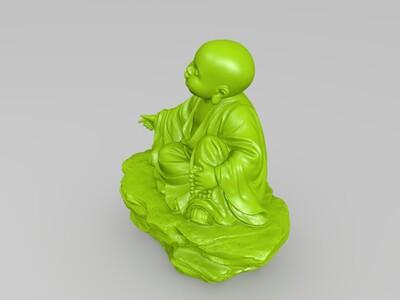 品茶论道小和尚-3d打印模型