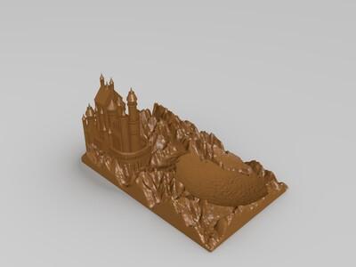 10CM月夜城堡底座-3d打印模型