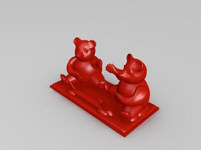熊猫手机支架-3d打印模型