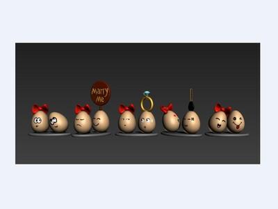 3D蛋系列(求婚五部曲)-3d打印模型