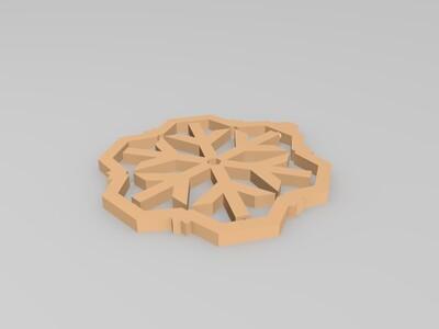 旋转的雪花装饰-3d打印模型