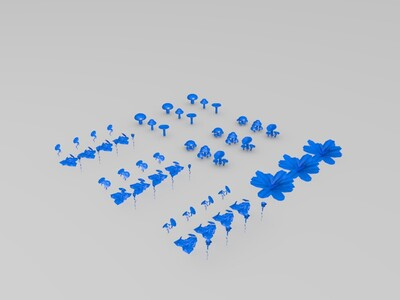蘑菇野花野草鲜花-3d打印模型