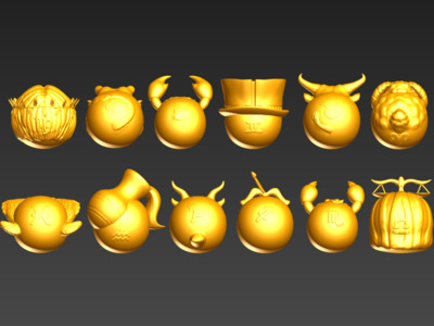 3D蛋系列(十二星座全套)-3d打印模型