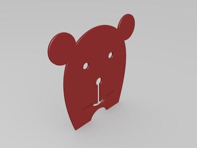 可爱熊手机架-3d打印模型