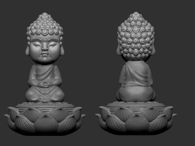 zb精雕 熏香茶宠小和尚-3d打印模型