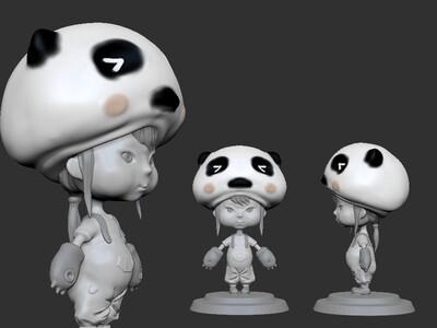 ZB精雕 动漫 卡通 熊猫小女孩 -3d打印模型