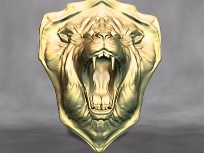 狮头盾牌-3d打印模型