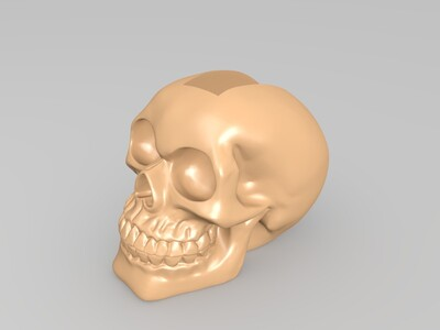 莫西干发型的骷髅花盆-3d打印模型