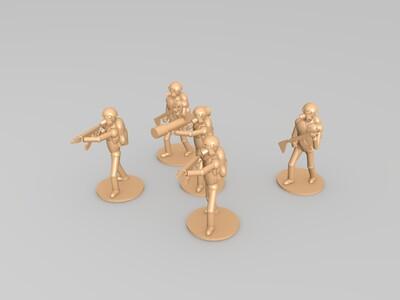 5个防毒面具小兵人-3d打印模型