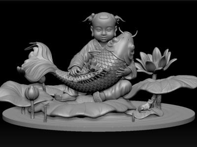 童子-年年有余-3d打印模型