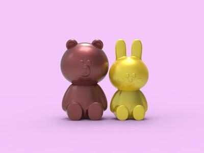 布朗熊和可妮兔-3d打印模型