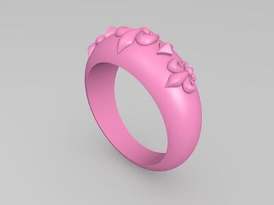鸢尾花纹戒指-3d打印模型