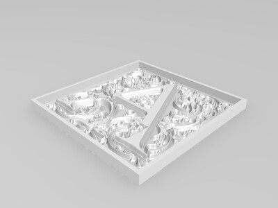 F字花纹框-3d打印模型