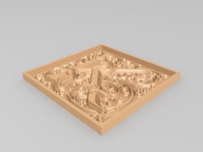 L字花纹框-3d打印模型