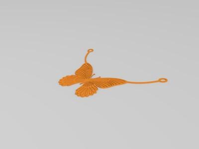 蝴蝶项链吊坠-3d打印模型