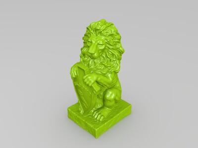 坐立狮子-3d打印模型