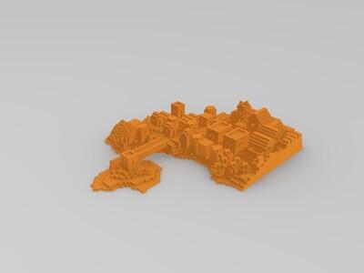 世界村岛-3d打印模型