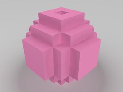 好玩的方块球(空心)-3d打印模型