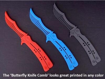 蝴蝶刀 梳子-3d打印模型