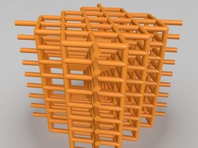 镂空立方体-3d打印模型
