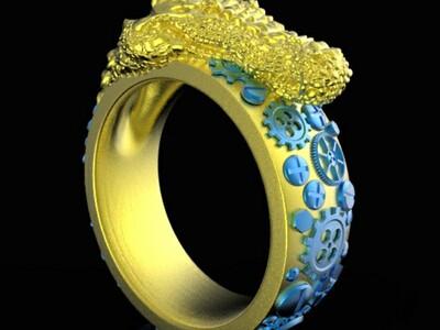 蒸汽朋克风鳄鱼戒指-3d打印模型