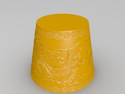 龙凤呈祥灯罩带花有支撑无孔灯罩-3d打印模型