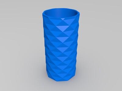 棱面笔筒-精致-3d打印模型
