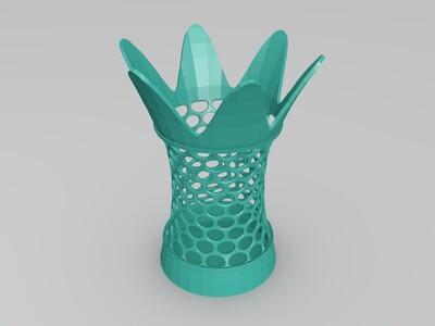 镂空花朵笔筒茶具罐-3d打印模型