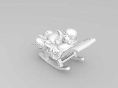 躺椅弥勒-3d打印模型