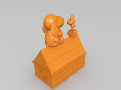 史努比和糊涂塌客-3d打印模型