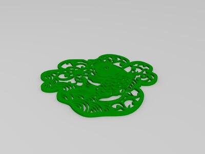 立体剪纸福字摆件(薄款)-3d打印模型