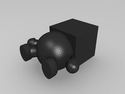 方块小人花盆-3d打印模型