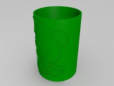 小猪图案笔筒-3d打印模型
