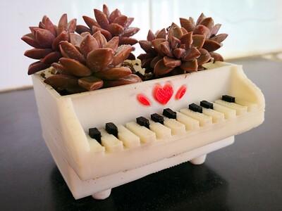 多肉植物创意花盆—钢琴-3d打印模型