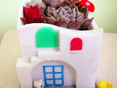 多肉植物创意花盆之小别墅-3d打印模型