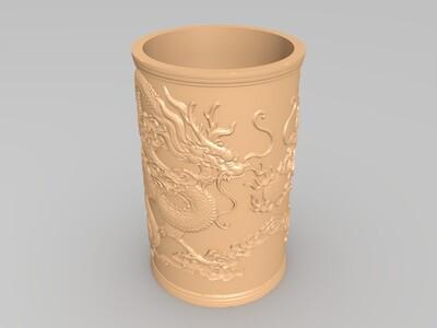 二龙戏珠笔筒-3d打印模型
