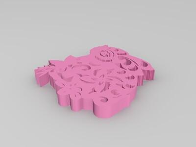 兔剪纸摆件-3d打印模型