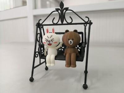 排排坐的布朗熊和可妮兔-3d打印模型