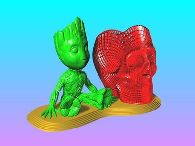 树人 格鲁特 笔筒-3d打印模型