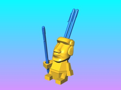 摩艾巨石像-筆座&筆筒&名片座-3d打印模型