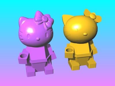 KITTY-筆座&筆筒-3d打印模型