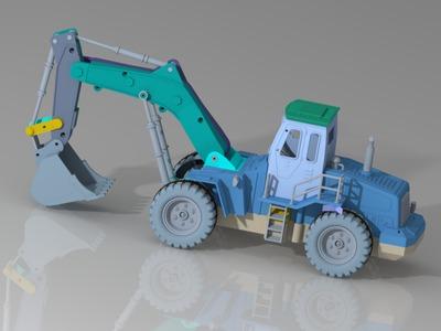 挖掘机-3d打印模型